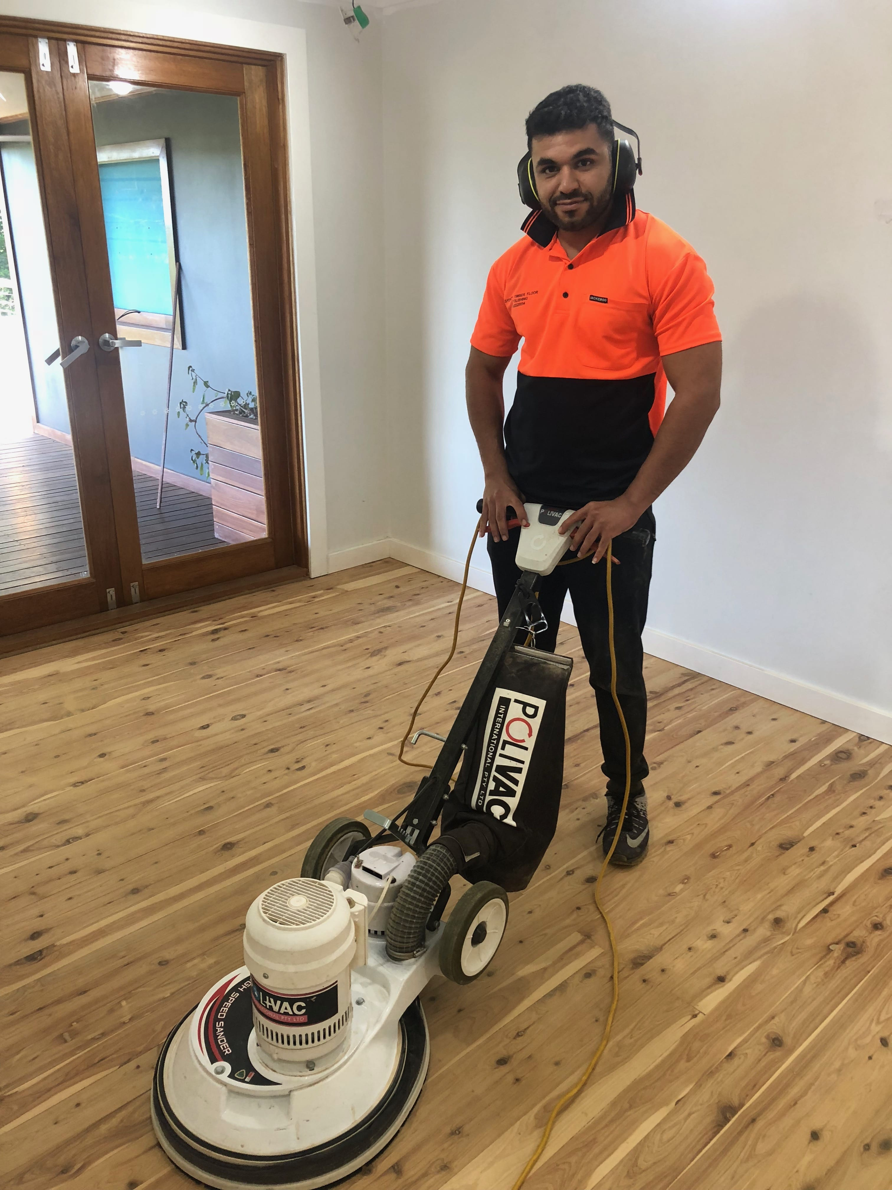 Picture of Sam doing floor sanding and polishing in Sydney